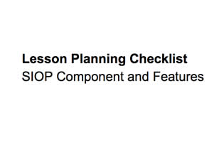 SIOP Lesson Planning